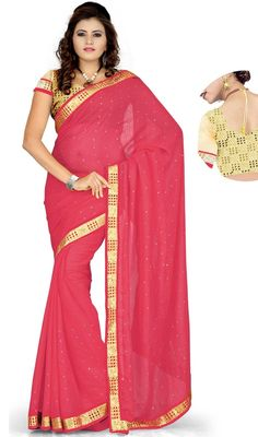 Glow like the brightest star draped on this pink color georgette sari. Beautified with lace and resham work. Upon request we can make round front/back neck and short 6 inches sleeves regular saree blouse also. #GlowingPeachReshamWorkSari
