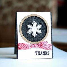 handmade Thank You Card ... bold look ... snwflake oranamet hanging over circle window opening ... lu the knotted ribbon wrap ...