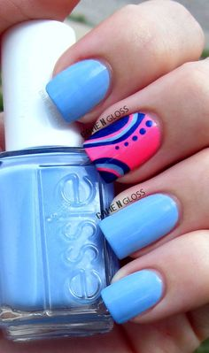 summer neon nails - essie and salon perfect. facebook @ GAME N GLOSS #nailart