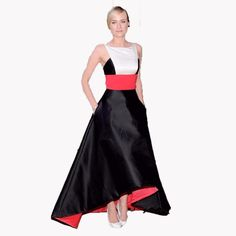 Diane Kruger Gorgeous High Low Red Carpet Dress Celebrity Evening Dresses Backless Prom Gown Black Stain Spliced Vestidos Robe
