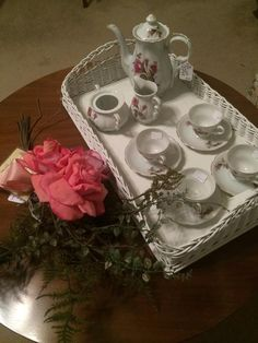 White wicker tray and tea set  New Divide & Conquer sale starting this Thursday, March 3-5; check out the details here:  http://divideandconquerofeasttexas.com/nextsales.php  #estatesales #consignments #consignment #tyler #tylertx #tylertexas #organizing #organizers #professionalorganizer #professionalorganizers #movingsale #movingsales #moving #sale #divideandconquer #divideandconquerofeasttexas #divideandconquereasttexas #marthadunlap #martha #dunlap