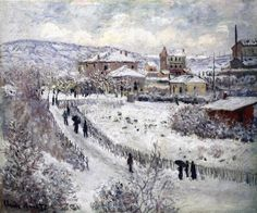 View at Argenteuil, Snow (c. 1874) | Oil on canvas, 54 x 65 cm | Claude Monet, French, 1840-1926 | Nelson-Atkins Museum of Art, Kansas City | Claude Monet, French, 1840-1926