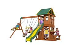 Find Backyard Discovery Oakmont All Cedar Wood Playset Swing Set online. Shop the latest collection of Backyard Discovery Oakmont All Cedar Wood Playset Swing Set from the popular stores - all in one Backyard Swing Sets, Backyard Playset, Backyard Playground, Backyard For Kids, Playground Ideas, Outdoor Playset, Playground Slide, Large Backyard, Outdoor Toys