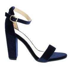Rampage04s NavyVel classic high heel dress sandal w ankle strap chunky block heel