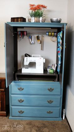 Armoire Into Sewing Center ...or used in other ways! Love that a curtain tension rod is used in so many ways.