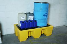Plastic 2 drum spill pallet suitable for commercial and industrial applications.