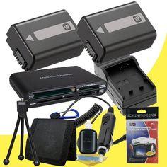 Best TWO NPFW50 Lithium Ion Replacement Batteries w/Charger   Memory Card Reader/Wallet   Deluxe Starter Kit for Sony NEX-5N NEX-7 NEX-C3 Alpha Digital SLR Cameras DavisMAX Accessory Bundle Sony NEX