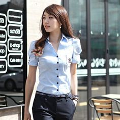 Korea womens shopping mall [styleberry] #koreafashionshop #Fashion_women  #korea #dailylook #dailyfashion #T-shirts #dress #tops #blouse #cardigan #outwear #skirt #pants #basic_item #shoes #bag #jewelry #acc #shortsleeveblouse #女衬衫 #ブラウス Short sleeve button shirt embroidery point / Size : S,M,L / Price : 32.35 USD