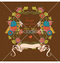 Floral with birds and flowers vector on VectorStock®