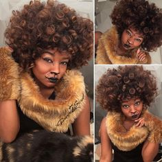 faux fur + cheap liner + big fro and now I'm a LIONESS  ($7 costume)  2 arm cuffs, 2 leg cuffs, a neck piece, tail and ears optional Easy DIY Halloween lion costume