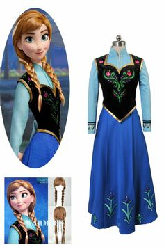 Disney Frozen Princess Anna Cosplay Costume and Wig Hair #DisneyFrozen