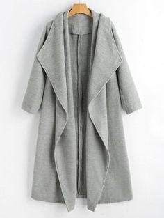 Wool Blend Shawl Collar Waterfall Coat - Gray S Coats For Women, Jackets For Women, Clothes For Women, Tienda Fashion, Modelos Plus Size, Autumn Winter Fashion, Fashion Fall, Fall Winter, Cute Sweatshirts
