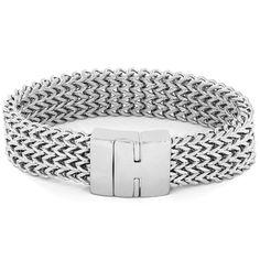 Unique Men/'s Stainless Steel BRUCE Link Bracelet Silver tone Adjustable