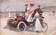 Post Card Women Driving Auto Along Sea Shore