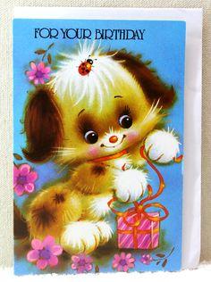 Childrens Birthday Card - Big Eyed Puppy with Ladybug