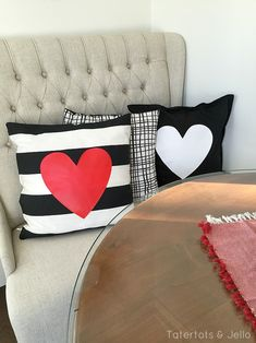 Make easy Valentine pillow covers in 10 minutes. And pillow covers are easy to store between holidays.