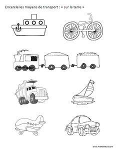 """Encercle les moyens de transport """"sur la terre"""" - Activité à imprimer                                                                                                                                                                                 Plus Transportation Unit, French Worksheets, French Class, Kindergarten Worksheets, School Supplies, Preschool, Hadith, Clowns, Ps3"""