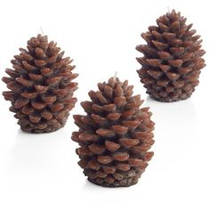 Crate & Barrel Set of 3 Mini Pinecone Candles (50 RON) ❤ liked on Polyvore featuring home, home decor, candles & candleholders, christmas, fillers, red, crate and barrel, pine cone candles, red candles and red home decor