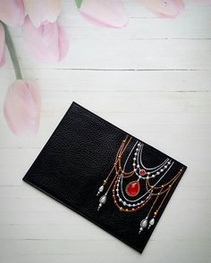 Fractal Tangled Bright Leather Passport Holder Cover Case Travel One Pocket