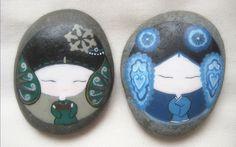 Piedras pintadas a mano, Doce bellezas. - Taobao
