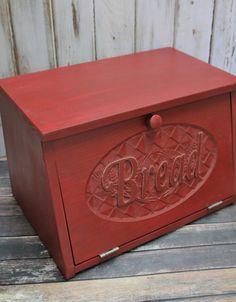 Wood Bread Box Rustic Red wooden Carved door by dlightfuldesigns