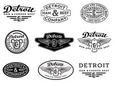 Detroit Ham and Corned Beef company logo design options by David Cran Brand Identity Design, Logo Design, Graphic Design, Print Design, Typo Logo, Logo Branding, Detroit, Retro Logos, Vintage Logos