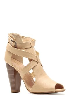 ab637c64ea1 Sand Faux Leather Cross Strap Chunky Booties   Cicihot Heel Shoes online  store sales Stiletto Heel Shoes