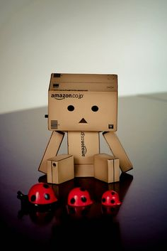 Danbo & You& afraid of insects and women. Ladybugs must render you catatonic. Danbo, Cute Images, Cute Pictures, Cool Photos, Miss Piggy, Girl Cartoon, Cute Cartoon, Box Robot, Amazon Box