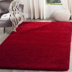Safavieh Santa Monica Shag Red Rug (9' x 12') (SGN725-4040-9), Size 9' x 12' (Polyester, Solid)