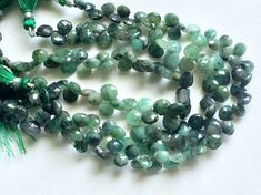 Emerald Beads Natural Emerald Faceted Heart by gemsforjewels