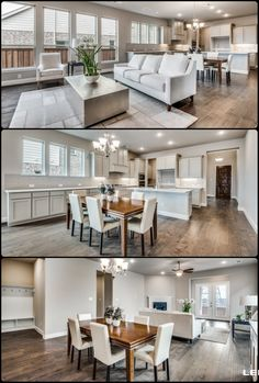 From the CEILING to the FLOORS, would you like to make this open concept home YOURS?! Open Concept Home, Galley Kitchens, Beautiful Dining Rooms, Model Homes, House Floor Plans, Dream Homes, Living Rooms, Floors, Family Room