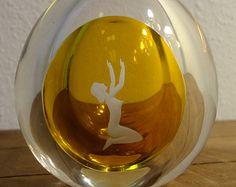 Johansfors Modernist Swedish Glass Perfume Bottle Etched Nude Amber Art Deco