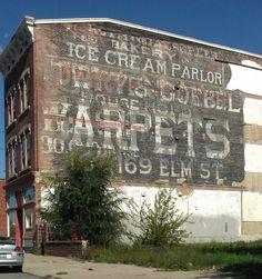 layered ghost signs in Cincinnati