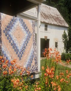 Quilt On Porch Near Old Barn & Lily's