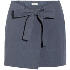 Étoile Isabel Marant Izia cotton mini skirt ($140) ❤ liked on Polyvore featuring skirts, mini skirts, bottoms, blue, short blue skirt, cotton skirts, tie waist skirt, blue skirts and elastic mini skirt