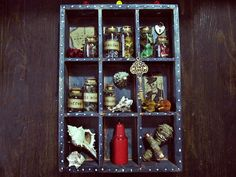 Papa Legba Voodoo miniature altar shadow box; New Orleans inspired Handmade of pine wood and filled with tiny bottels, sea shells, wax candle, mini