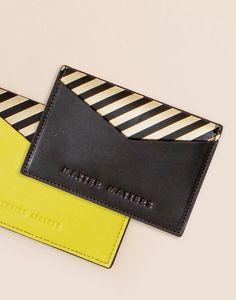 Matter Matters slimline card holder is handmade using the finest Calf-leather. The sleek 'M' cutout represents the brand's logo. Slip i...