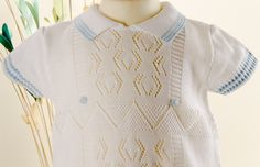 Pretty Originals Style JP51000 Knitted Romper with Pale Blue Trim