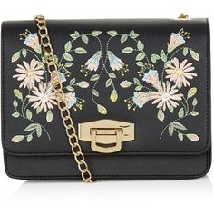 New Look Black Embroidered Floral Print Chain Shoulder Bag (331.505 IDR) ❤ liked on Polyvore featuring bags, handbags, shoulder bags, black pattern, flower print handbags, chain handle handbags, embroidery purse, chain handle purses and flower print purse