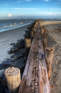 """Boardwalk"" at *Folly Beach, Charleston, South Carolina* [A wide angle look of a jetty at the *Lighthouse Inlet*]~[Photographer *Drew Castelhano* October 28 120817 Playa Beach, Ocean Beach, Beach Bum, Ocean City, Folly Beach, I Love The Beach, Belle Photo, Beautiful Beaches, Seaside"