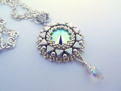Rime Bead embroidery pendant Wedding Seed bead necklace Silver Swarovski Trending style by vicus. Explore more products on http://vicus.etsy.com