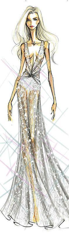 Diane von Furstenberg's sketch of Lady Gaga's wedding dress.