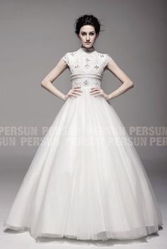 Pearl Elegance: Noble Princess High neck wedding gown