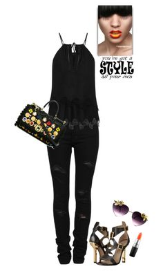 """""""Black in the Summer"""" by juliehooper ❤ liked on Polyvore featuring Yves Saint Laurent, Thakoon, Dolce&Gabbana, Versace, GUESS and MAC Cosmetics"""