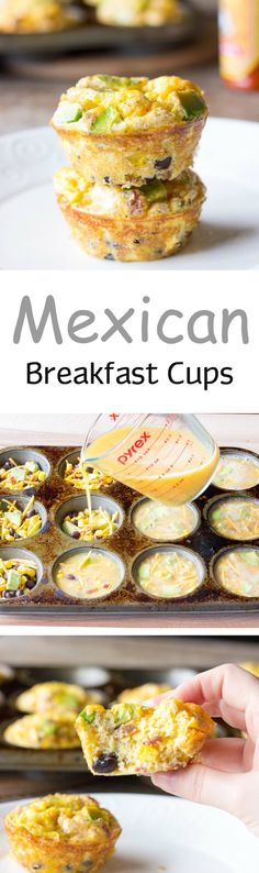 Mexican Breakfast Cups - Eggs poured over bacon, cheese, corn, black beans, and avocado; and baked in a muffin tin