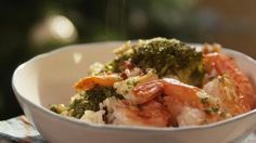 Scampi met broccoli en wilde rijst