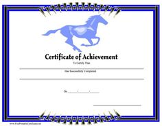 A certificate of achievement featuring a blue horse running in the background and a border of blue and black. Free to download and print