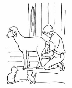 Farm Work And Chores Coloring Page Boy Milking A Goat Animals Sheets