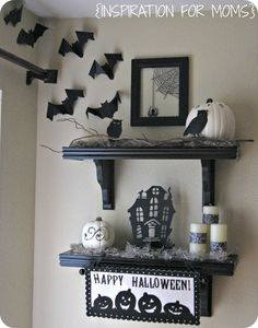 Halloween decorated shelves from Inspiration for Moms