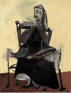 Pablo Picasso (1881-1973), Tête de femme (Dora Maar), signé Picasso (en haut à ...